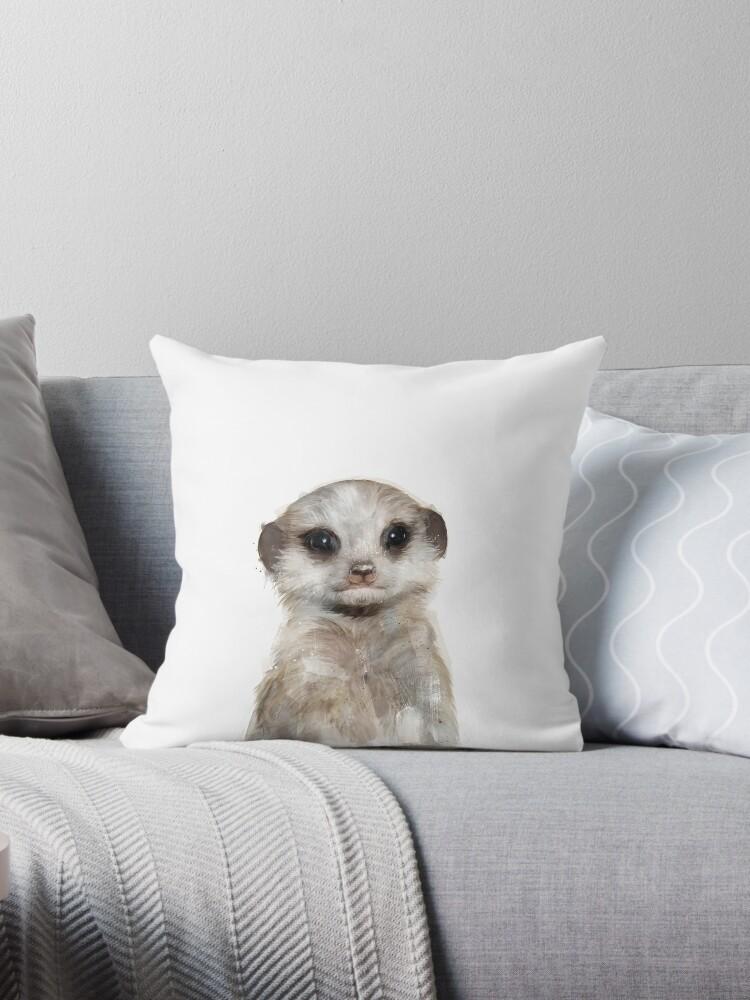 Little Meerkat Throw Pillow By Amyhamilton Redbubble
