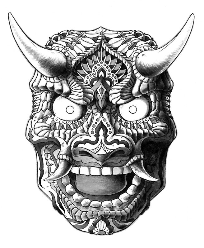 quotjapanese demon mask v2quot by bioworkz redbubble