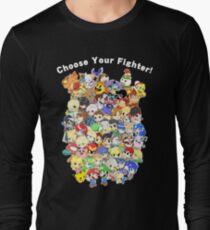 Camiseta de manga larga Super Smash Bros. ¡Los 58 personajes! Elige tu luchador! Grupo