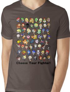 Super Smash Bros. All 58 Characters! Choose Your Fighter!! Mens V-Neck T-Shirt