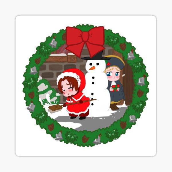 Christmas Chibitalia and Holy Rome Sticker