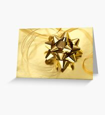 Gold Christmas bow& ribbon  Greeting Card