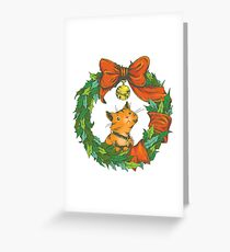 Orange Tabby Cat in a Holiday Wreath Greeting Card