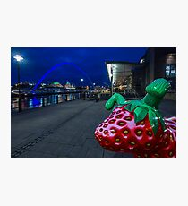 Newcastle Quayside snowdog Snowberry at night Photographic Print