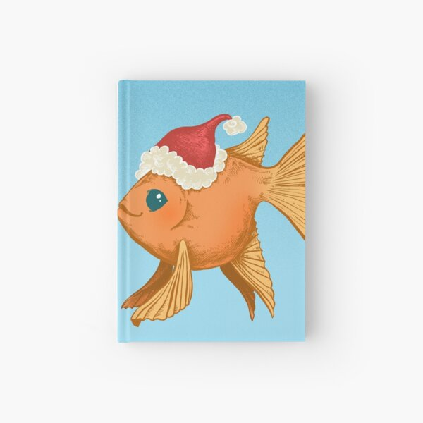 Christmas Goldfish with a Kelp Tree and Pearls Hardcover Journal