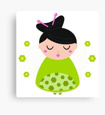 Cute beautiful spring Geisha : Floral green Canvas Print