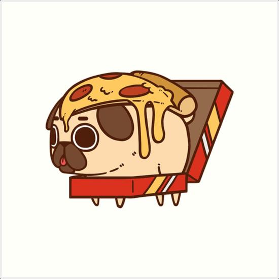"""Puglie Pizza"" Art Prints by Puglie Pug | Redbubble"