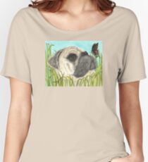 Pug Dog Butterfly Animals Cathy Peek Art Women's Relaxed Fit T-Shirt