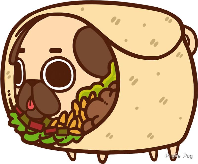 """Puglie Burrito"" Stickers By Puglie Pug"