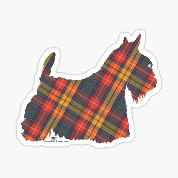 Scottish Terrier Silhouette Buchanan Tartan Sticker