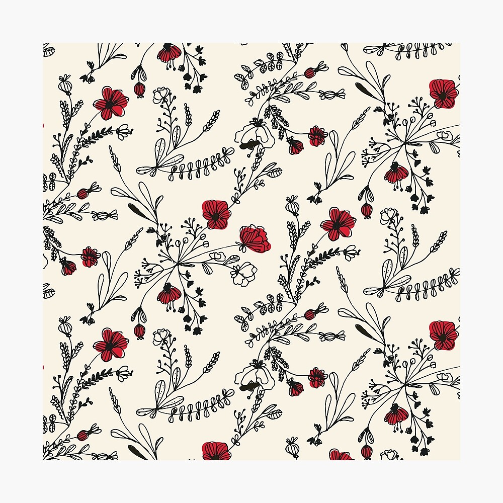 Red Flower Pattern Photographic Print