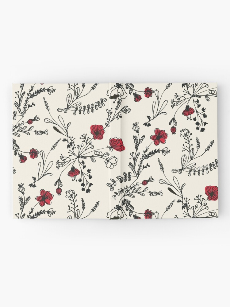 Alternate view of Red Flower Pattern Hardcover Journal