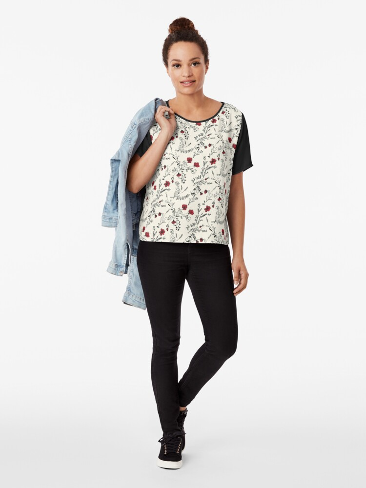 Alternate view of Red Flower Pattern Chiffon Top