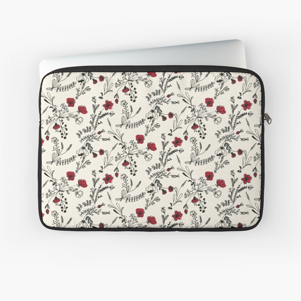 Red Flower Pattern Laptop Sleeve