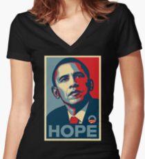 OBAMA Women's Fitted V-Neck T-Shirt
