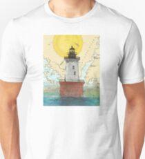Hooper Island Lighthouse MD Map Cathy Peek Art Unisex T-Shirt