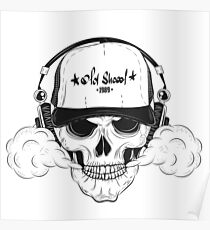 Skull with modern street style attributes Poster