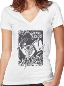 Strange Biology Antelope Skeleton Women's Fitted V-Neck T-Shirt