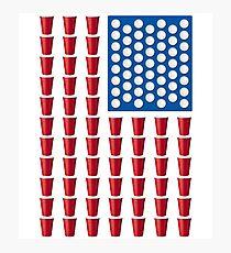 Lámina fotográfica Beer Pong Drinking Game Bandera estadounidense