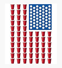 Beer Pong Drinking Game American Flag Photographic Print