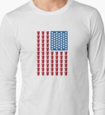 Beer Pong Drinking Game American Flag Long Sleeve T-Shirt