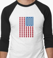 Beer Pong Drinking Game American Flag Men's Baseball ¾ T-Shirt