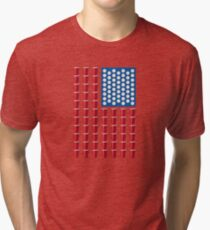 Beer Pong Drinking Game American Flag Tri-blend T-Shirt