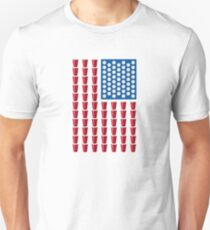 Beer Pong Drinking Game American Flag Slim Fit T-Shirt