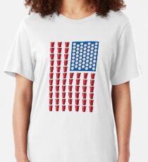 Camiseta ajustada Beer Pong Drinking Game Bandera estadounidense