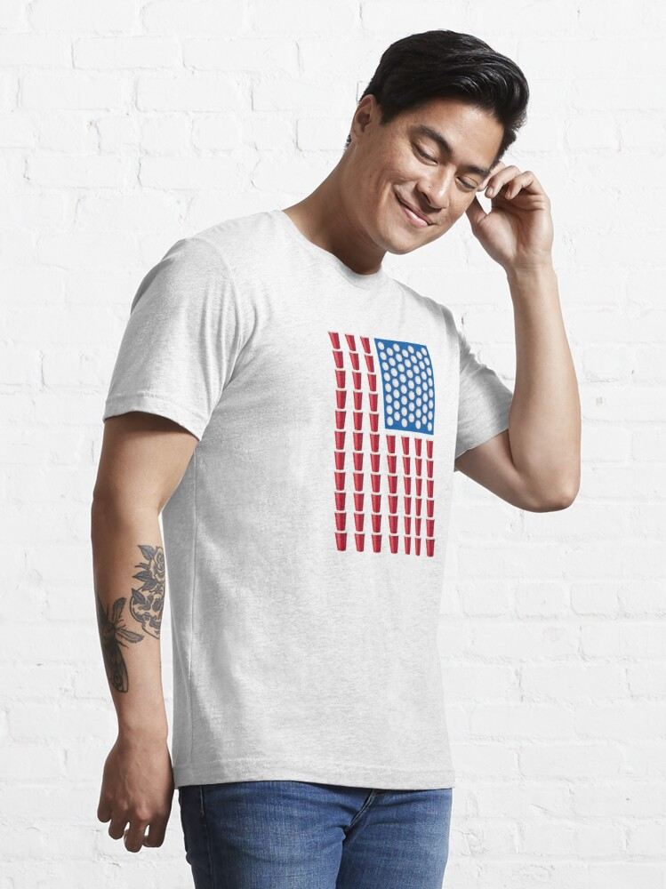 Alternate view of Beer Pong Drinking Game American Flag Essential T-Shirt