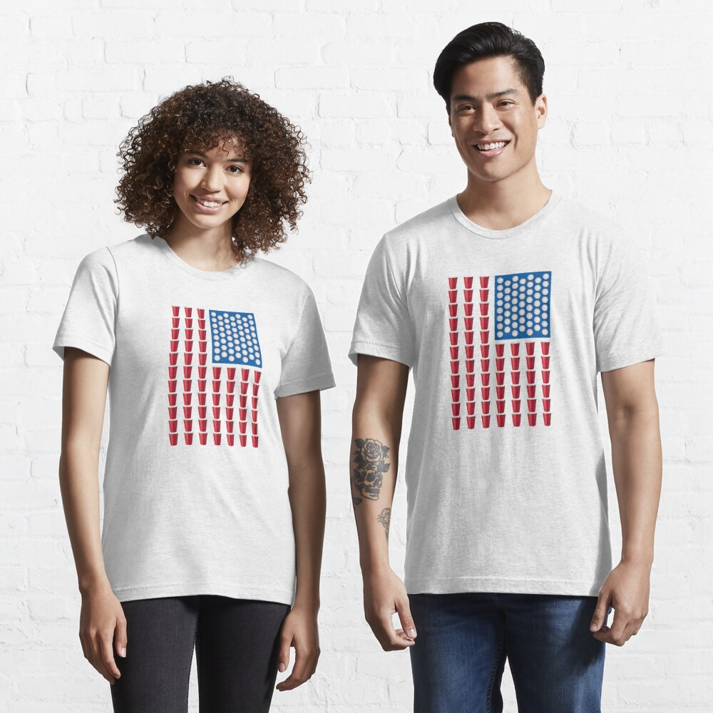 Beer Pong Drinking Game American Flag Essential T-Shirt