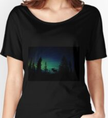 Moose with Northern Lights Women's Relaxed Fit T-Shirt