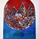 Red Moon over Mountains by ShellsintheBush