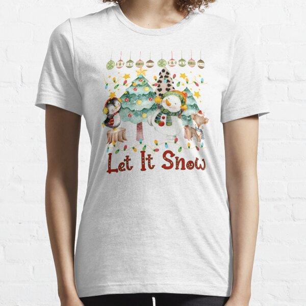 let it snow Cute Christmas, merry christmas Gift, Christmas Cheetah Tree Prints, Buffalo Plaid Xmas Essential T-Shirt
