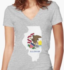 Illinois outline with flag Women's Fitted V-Neck T-Shirt