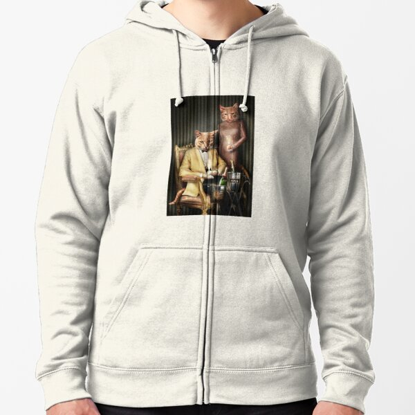 Cat Portrait - Moet and Piper Zipped Hoodie