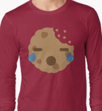 Cookie Emoji with Teary Eyes and Sad Look Long Sleeve T-Shirt