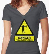 Danger to Adventurers Women's Fitted V-Neck T-Shirt