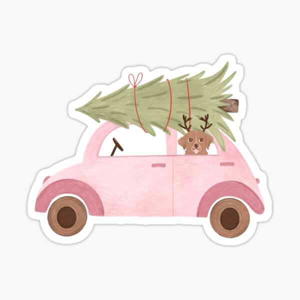 Dog in the car with tree New Year Christmas vibe Sticker
