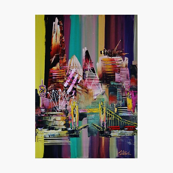 London City Skyline Abstract Painting 0711 Photographic Print