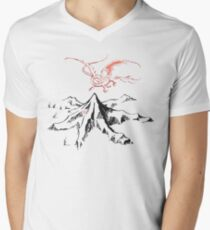Red Dragon Above A Single Solitary Peak - Fan Art Men's V-Neck T-Shirt