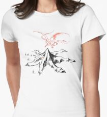 Red Dragon Above A Single Solitary Peak - Fan Art Women's Fitted T-Shirt