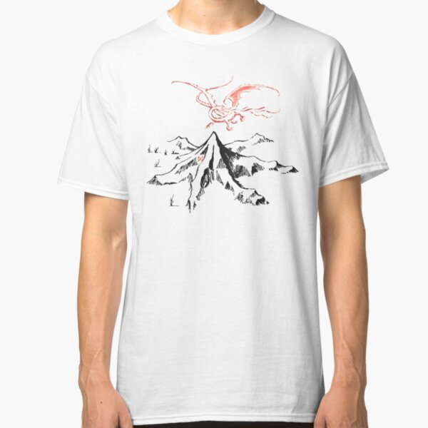 Red Dragon Above A Single Solitary Peak - Fan Art Classic T-Shirt