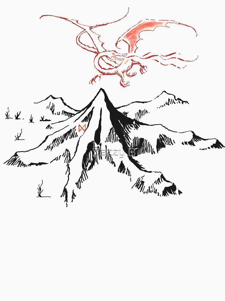 Red Dragon Above A Single Solitary Peak - Fan Art by boberttrelfa