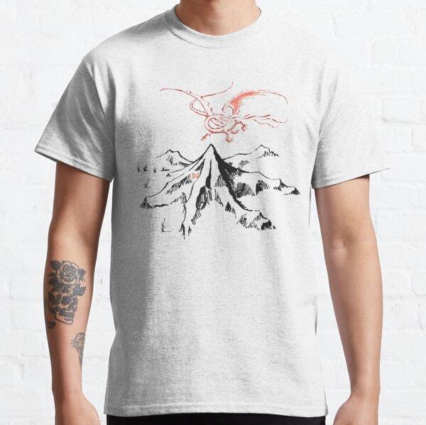 Dragon rouge au-dessus d'un seul pic solitaire - Fan Art T-shirt classique