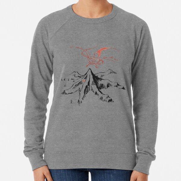 Red Dragon Above A Single Solitary Peak - Fan Art Lightweight Sweatshirt