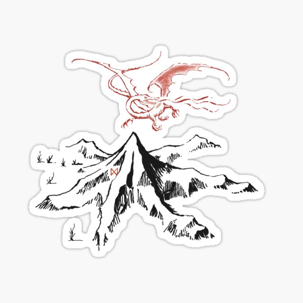 Red Dragon Above A Single Solitary Peak - Fan Art Sticker