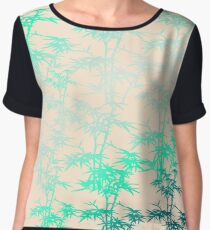 Giant Bamboo Grass in Mint Green on Peach Pastel with Variegated Plants Chiffon Top