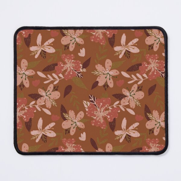 Earthy vintage flowers terracotta Mouse Pad