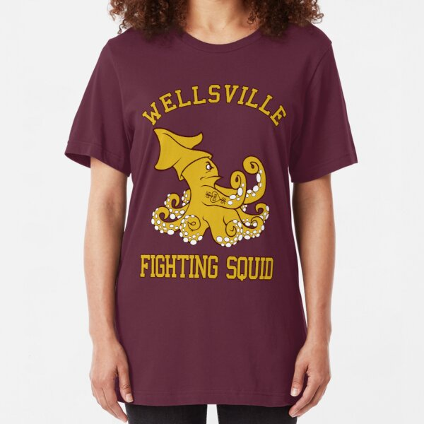 Wellsville Fighting Squid (Pete and Pete/Notre Dame parody) Slim Fit T-Shirt